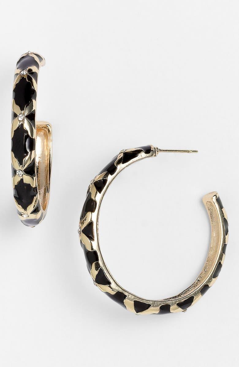 SEQUIN Crystal Detail Enamel Hoop Earrings, Main, color, 001