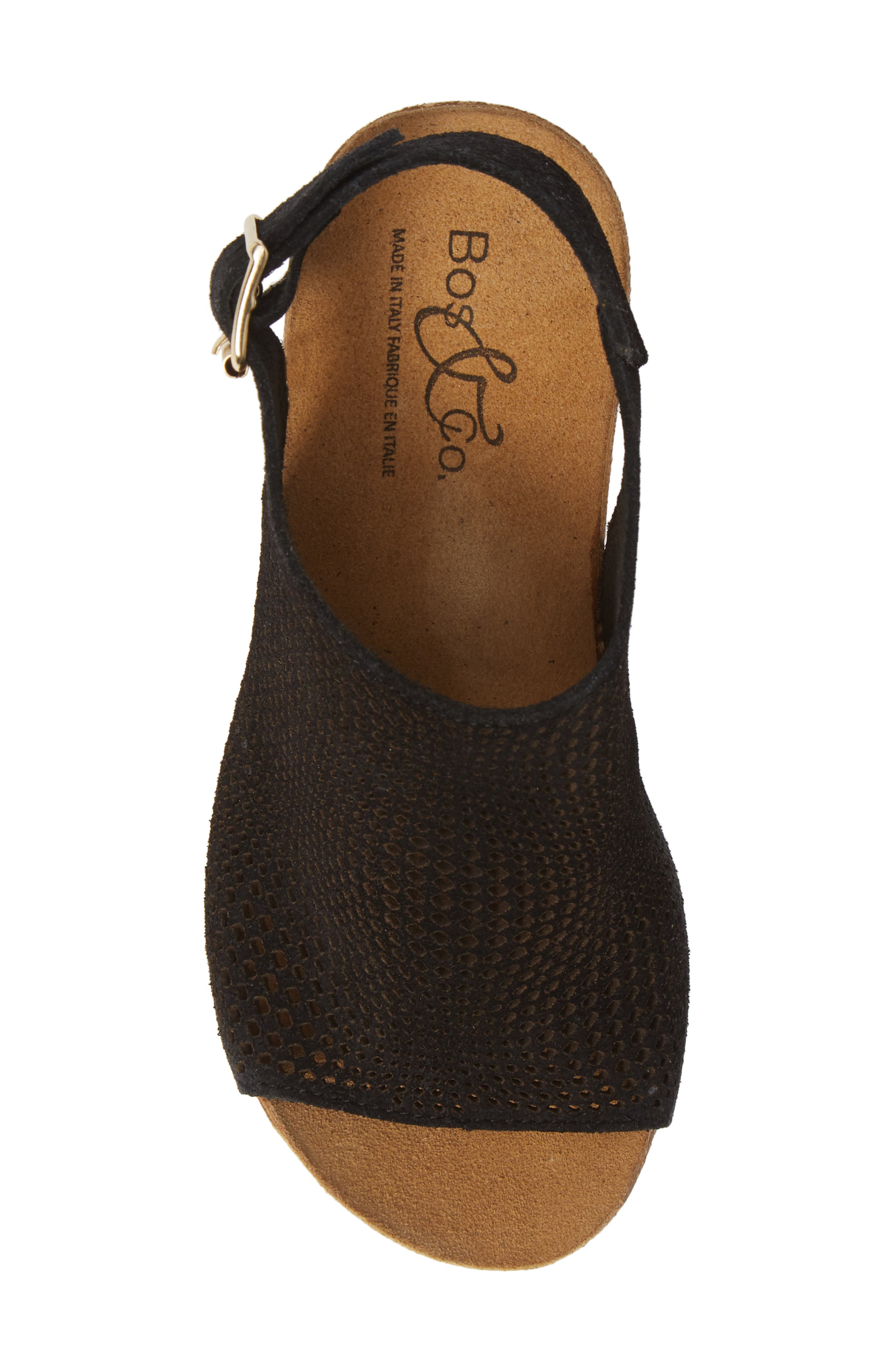 ,                             Savona Wedge Sandal,                             Alternate thumbnail 5, color,                             BLACK SUEDE