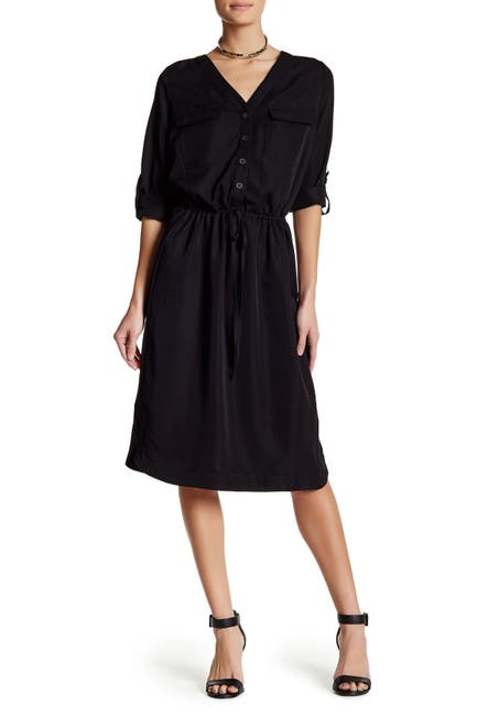 Image of Max Studio Satin Midi Shirt Dress