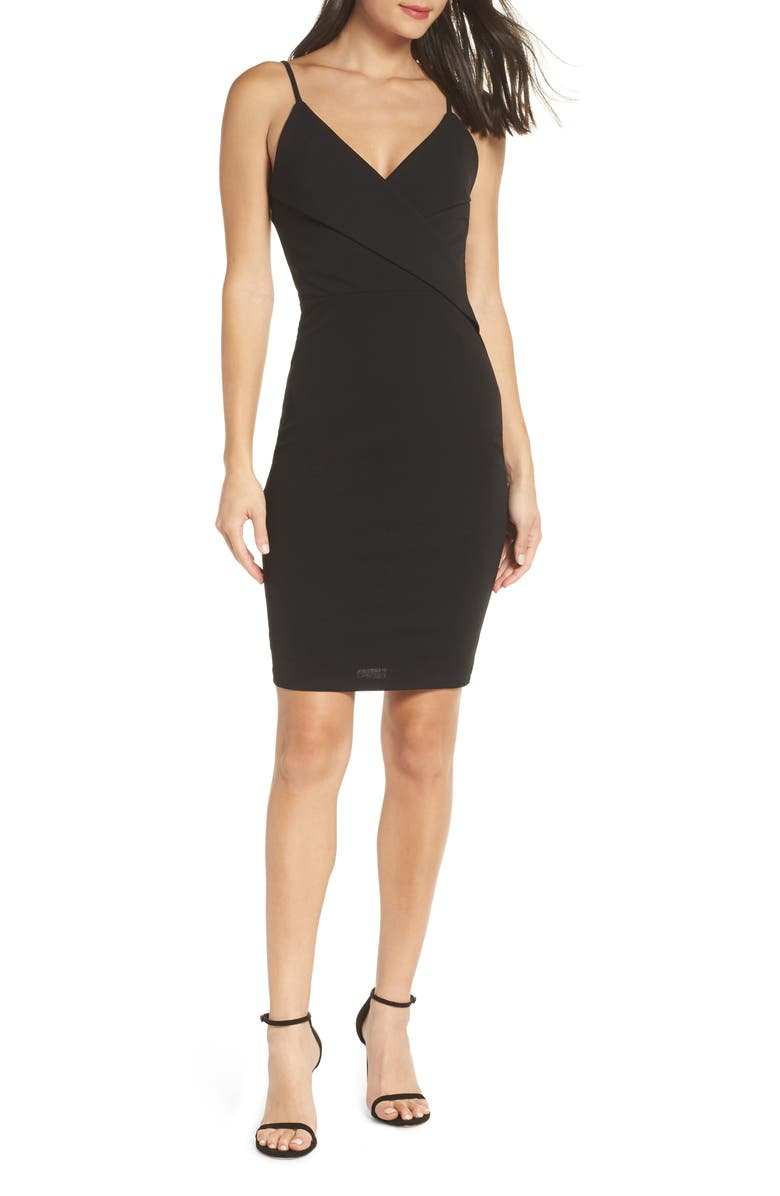 LULUS Pleat Body-Con Cocktail Dress, Main, color, 001