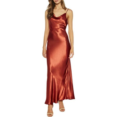Bardot Estelle Draped Satin Maxi Slipdress, Red