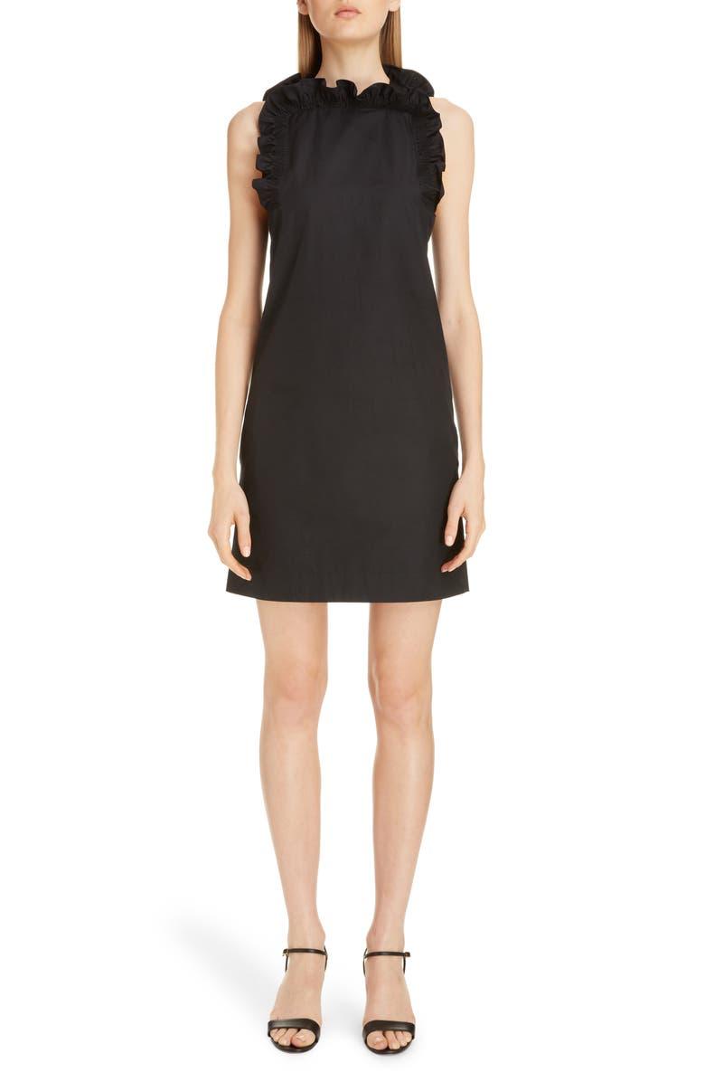 GIVENCHY Flutter Detail Sleeveless Poplin Dress, Main, color, BLACK