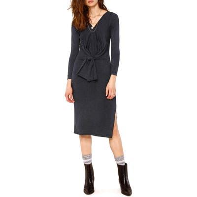 Heartloom Adrian Long Sleeve Front Tie Sweater Dress, Grey