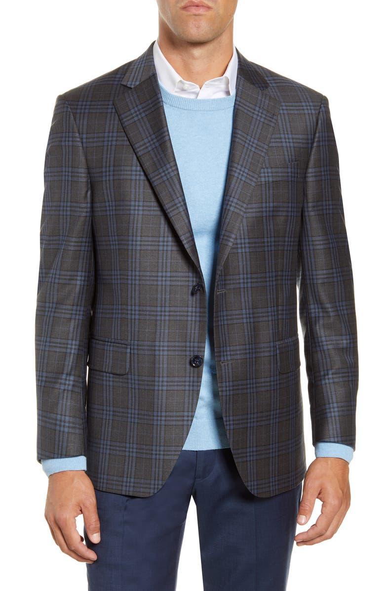 PETER MILLAR Flynn Classic Fit Plaid Wool Sport Coat, Main, color, CHARCOAL