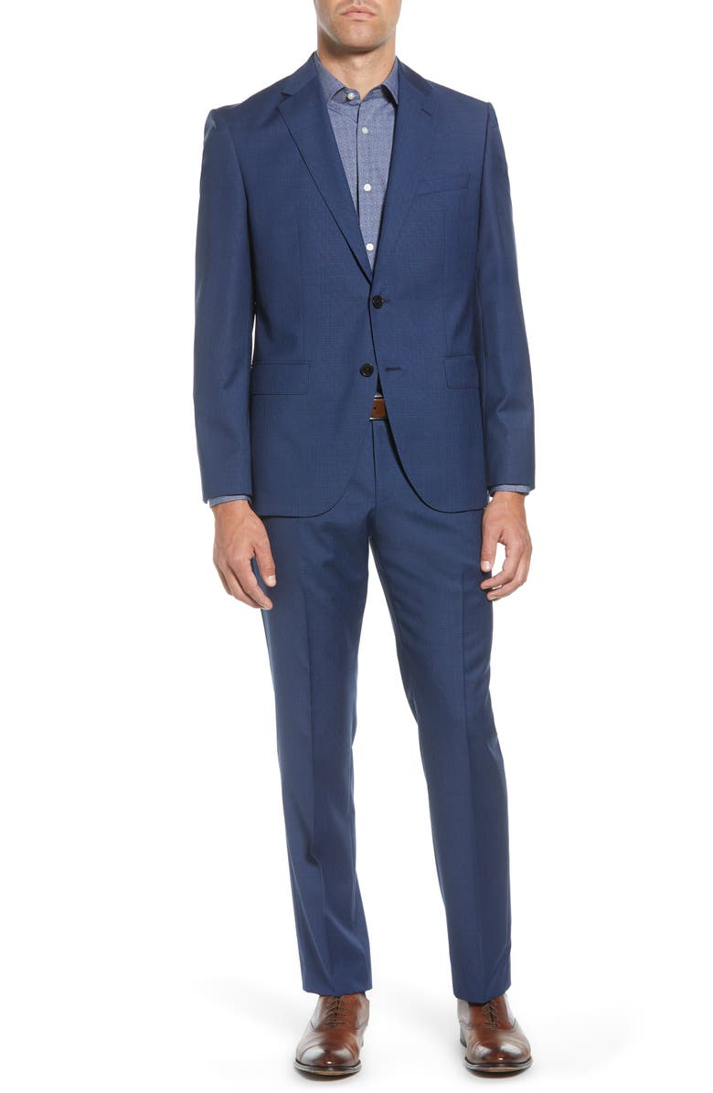BOSS Johnston/Lenon Trim Fit Houndstooth Wool Suit, Main, color, 401