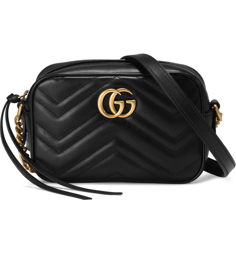 GUCCI GG Marmont 2.0 Matelassé Leather Shoulder Bag, Main, color, NERO