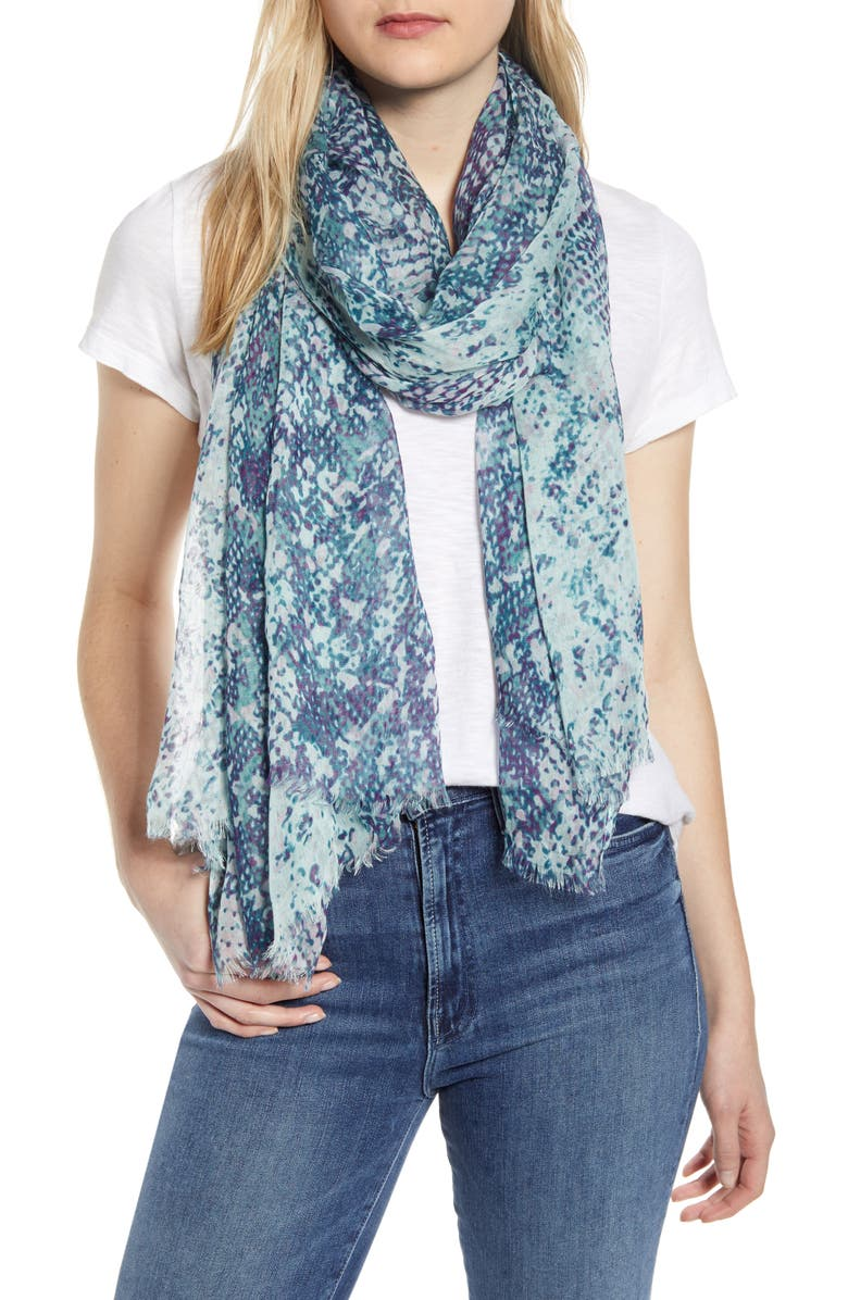NORDSTROM Print Modal & Silk Scarf, Main, color, TEAL SNAKE PRINT