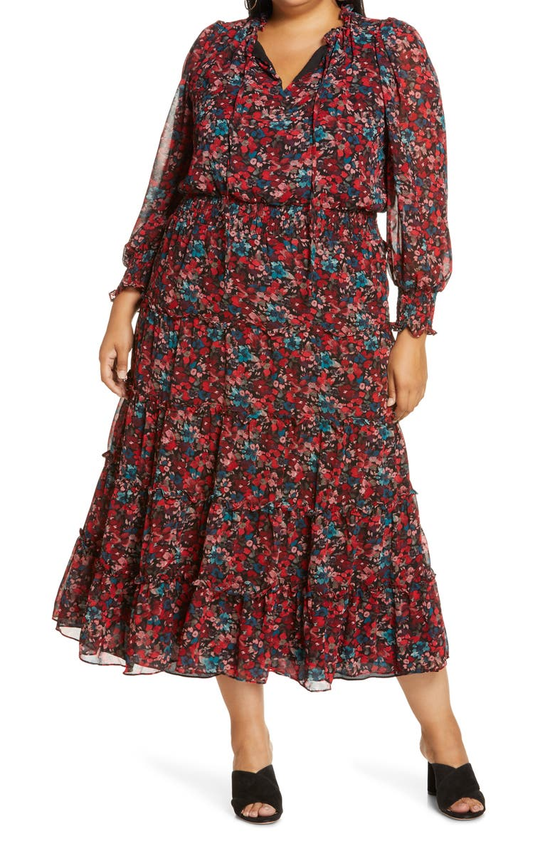 VINCE CAMUTO Autumn Floral Print Tiered Long Sleeve Maxi Dress, Main, color, CHERRY RED