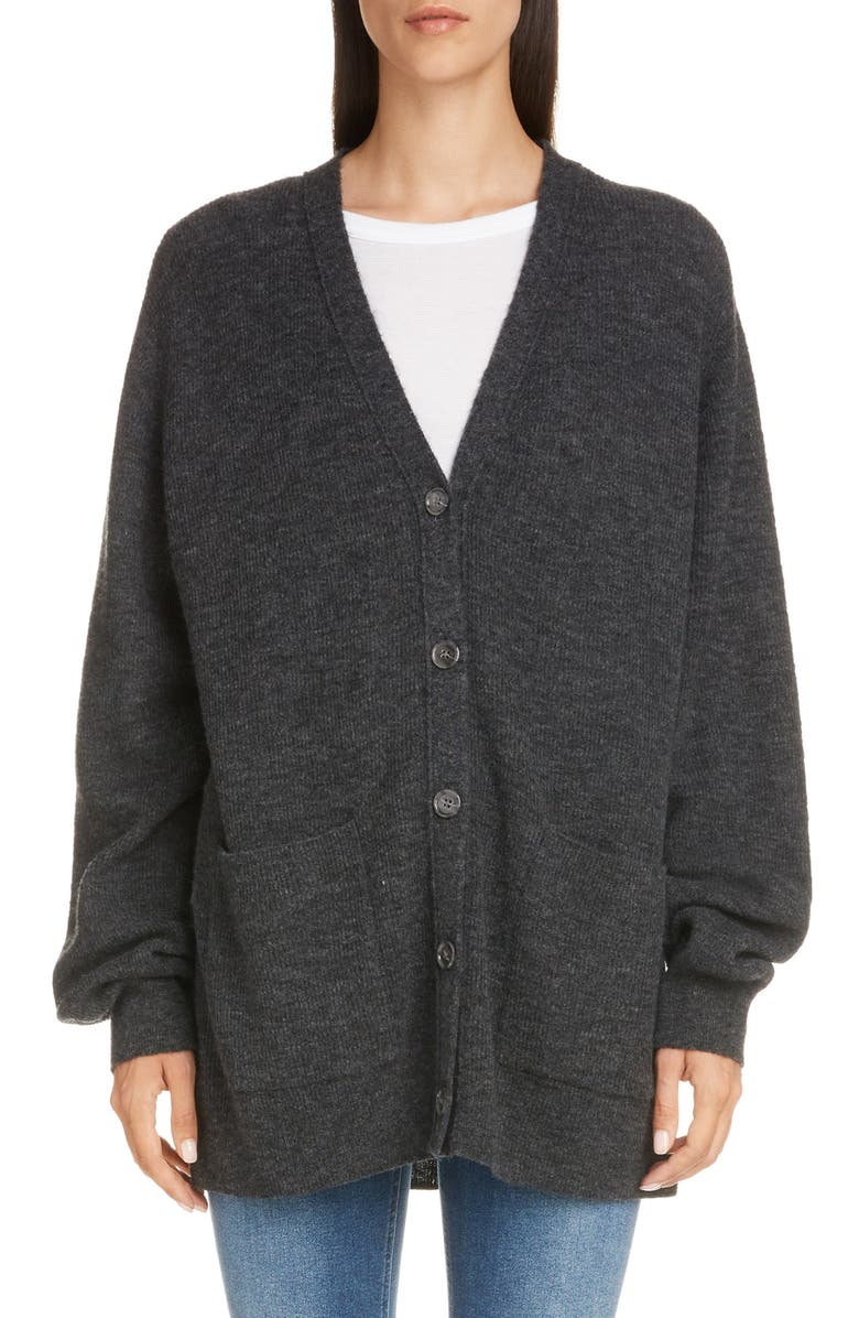 ACNE STUDIOS Kianne Rib Alpaca Blend Cardigan, Main, color, ANTHRACITE GREY