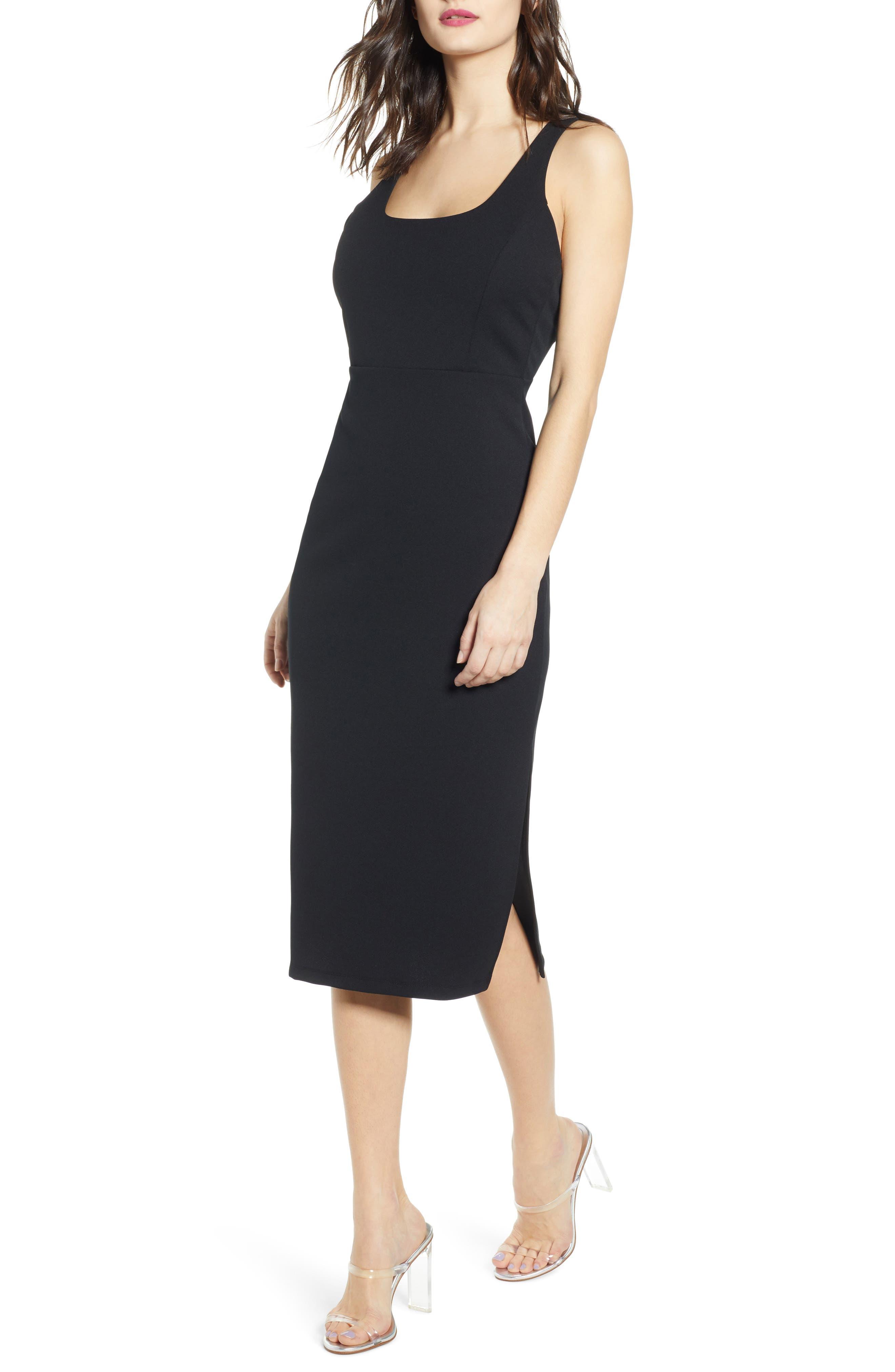 Leith Exposed Back Body-Con Midi Dress, Black