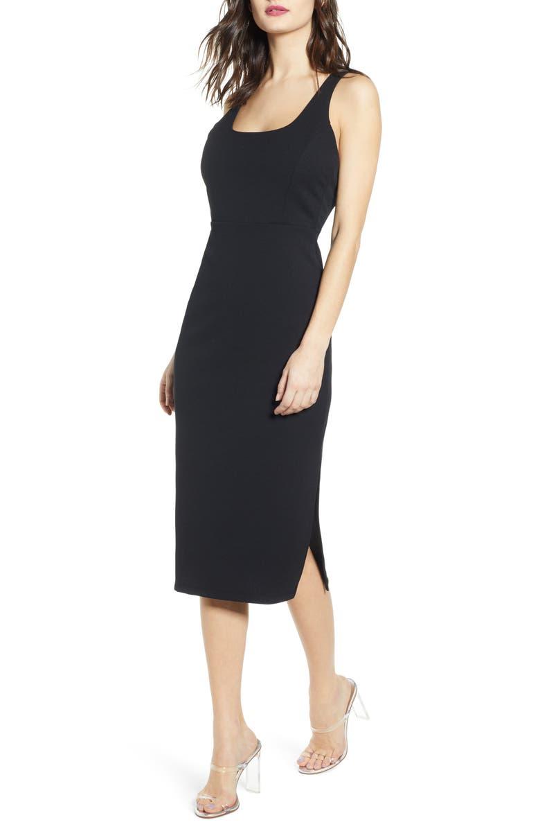 LEITH Exposed Back Body-Con Midi Dress, Main, color, 001