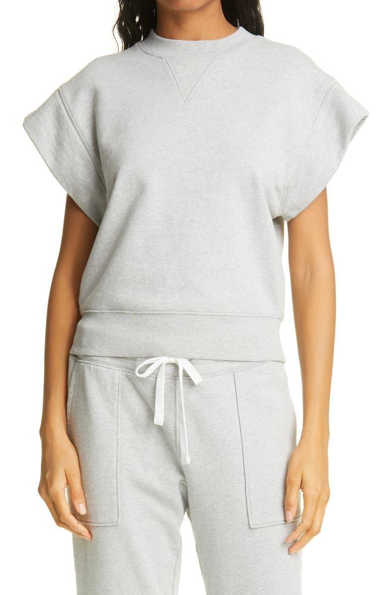FRAME Oversize Muscle Short Sleeve Sweatshirt, Main, color, GRIS HEATHER