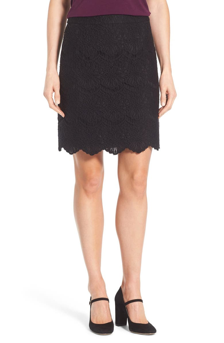 HALOGEN<SUP>®</SUP> Scallop Edge Lace Skirt, Main, color, 001