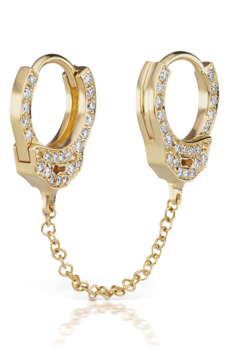 MARIA TASH 6.5mm Medium Chain Diamond Handcuff Clickers, Main, color, YELLOW GOLD/ DIAMOND