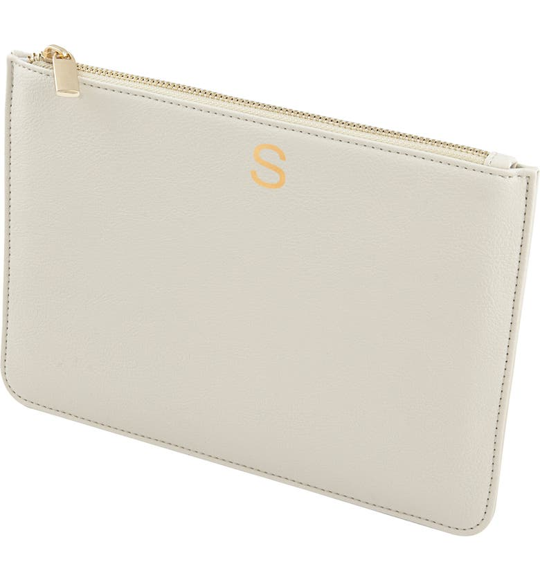 CATHY'S CONCEPTS Personalized Faux Leather Pouch, Main, color, PEBBLED GREY S
