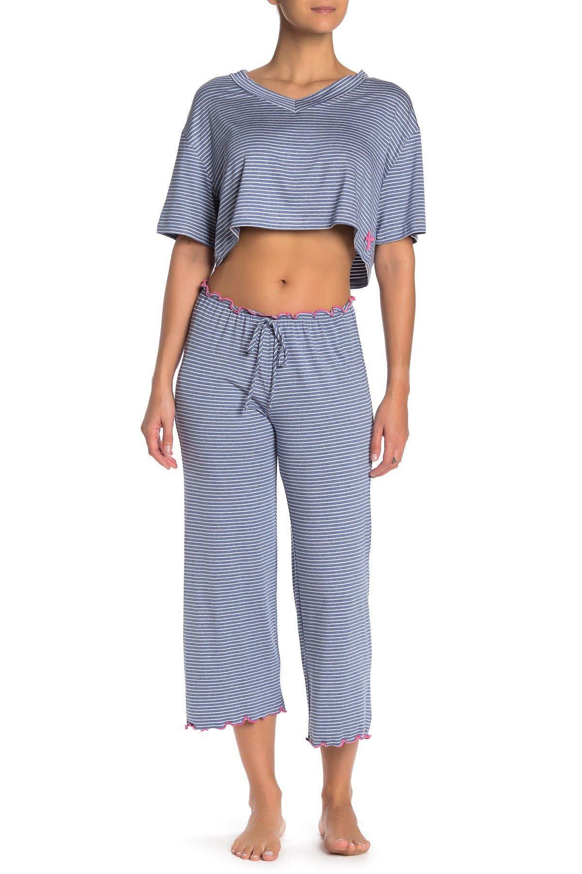 Image of Blue Moon Pink Star Stripe Drawstring Pajama Pants