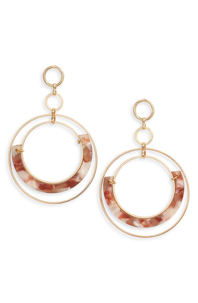 ETTIKA Wire Hoop Earrings, Main, color, BLUSH/ GOLD