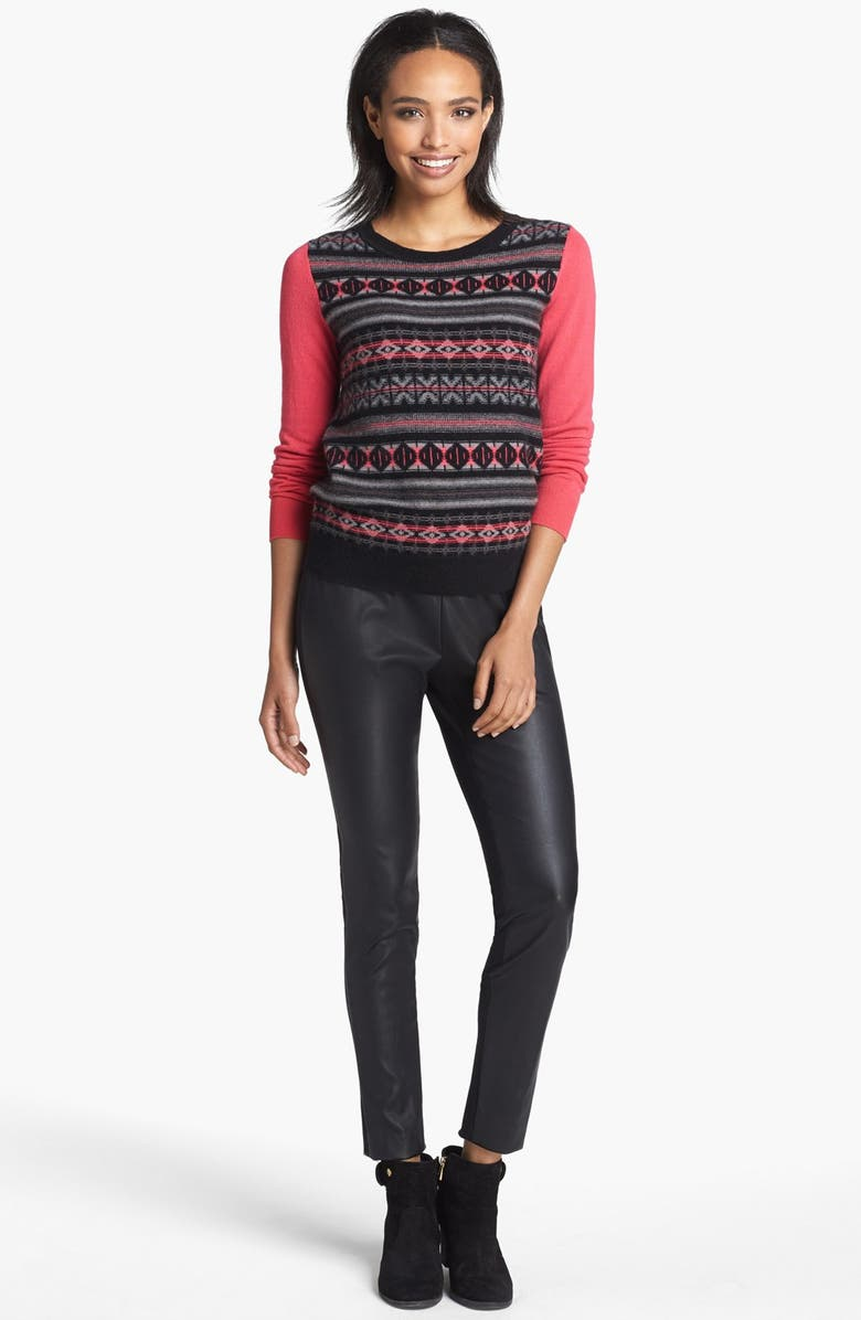HALOGEN<SUP>®</SUP> Fair Isle Cashmere Sweater, Main, color, 001