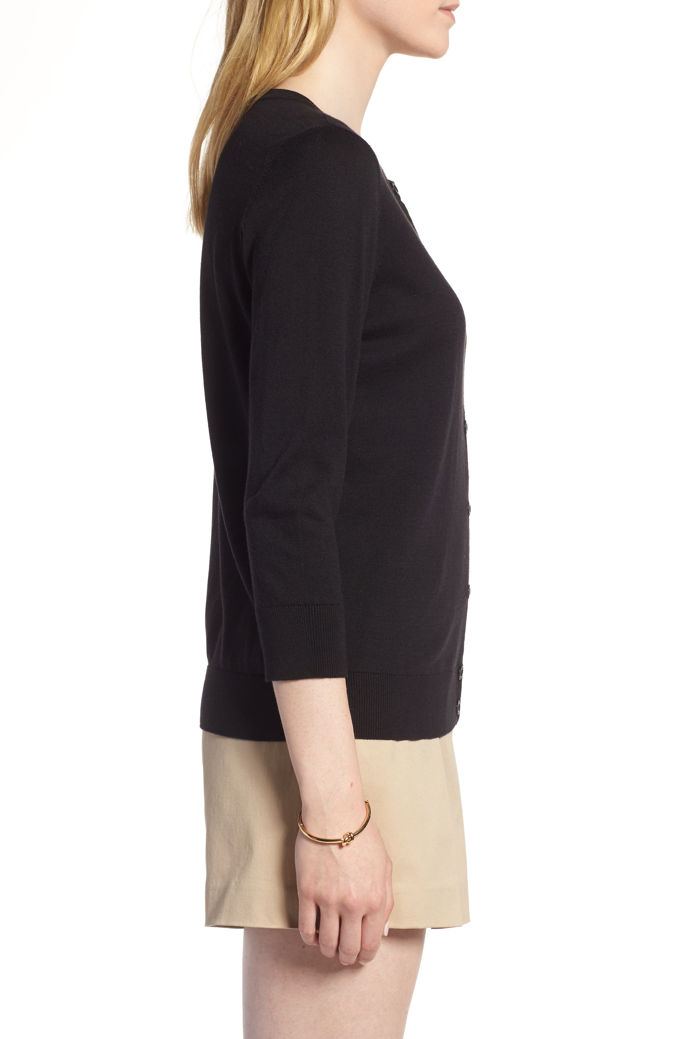 ,                             Cotton Blend Cardigan,                             Alternate thumbnail 4, color,                             BLACK