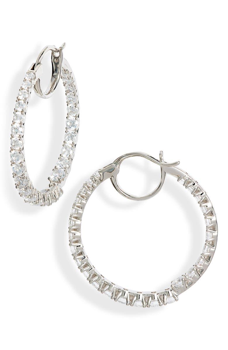 NADRI Evie Inside-Out Hoop Earrings, Main, color, RHODIUM