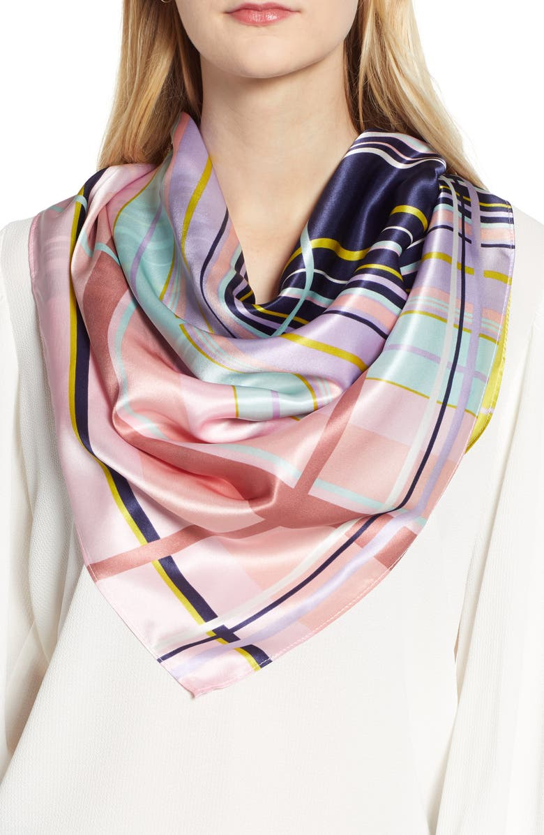 f49e175a4 Print Silk Scarf, Main, color, PINK HACKED PLAID PRINT