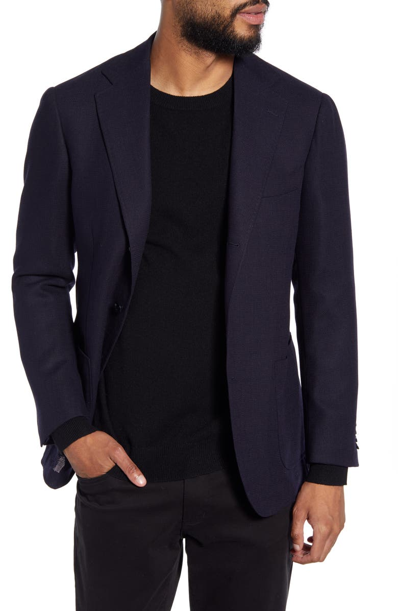 RING JACKET Trim Fit Wool Sport Coat, Main, color, NAVY