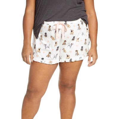 Plus Size Pj Salvage Dog Print Pajama Shorts, Ivory