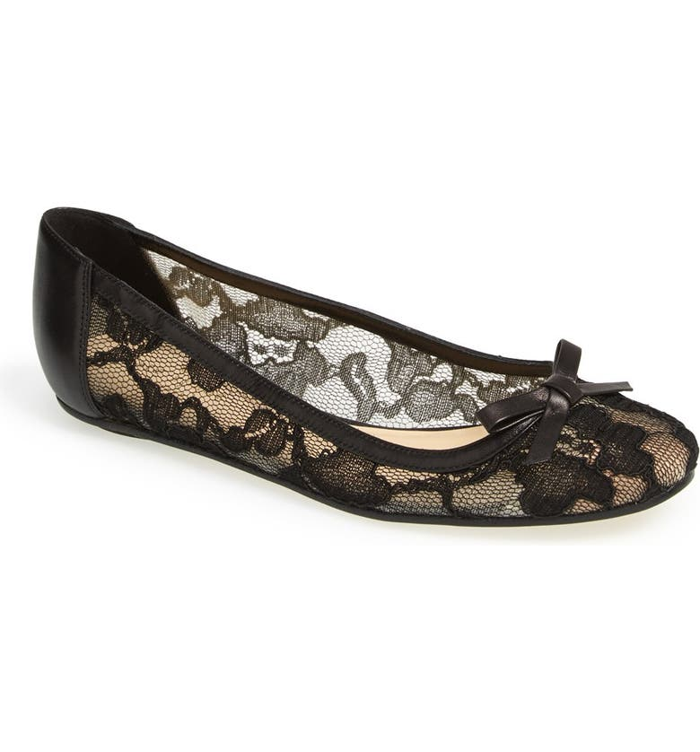 KATE SPADE NEW YORK 'banner' lace & leather flat, Main, color, 001