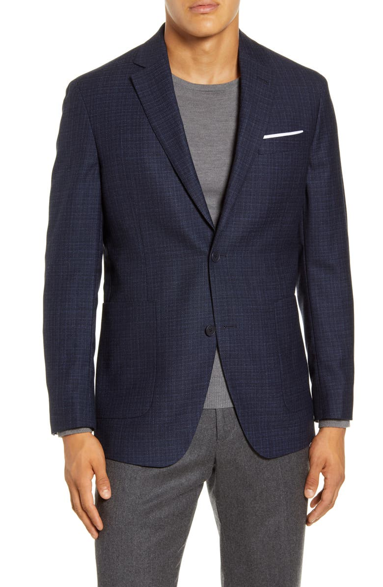 NORDSTROM MEN'S SHOP Trim Fit Wool Sport Coat, Main, color, NAVY PEACOAT HEATHERED CHECK