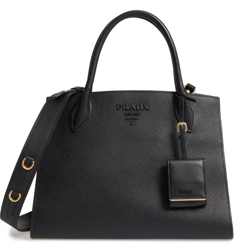 PRADA Large Monochrome Saffiano Tote, Main, color, NERO