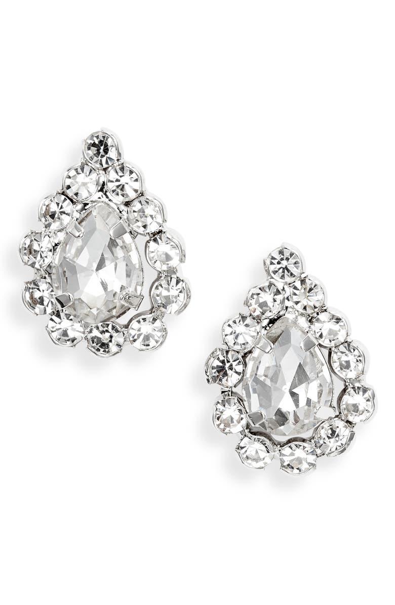CRISTABELLE Crystal Pear Stud Earrings, Main, color, CRYSTAL/ RHODIUM