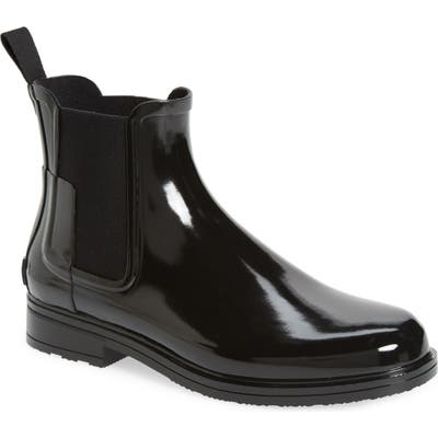 Hunter Original Refined Gloss Waterproof Chelsea Boot, Black