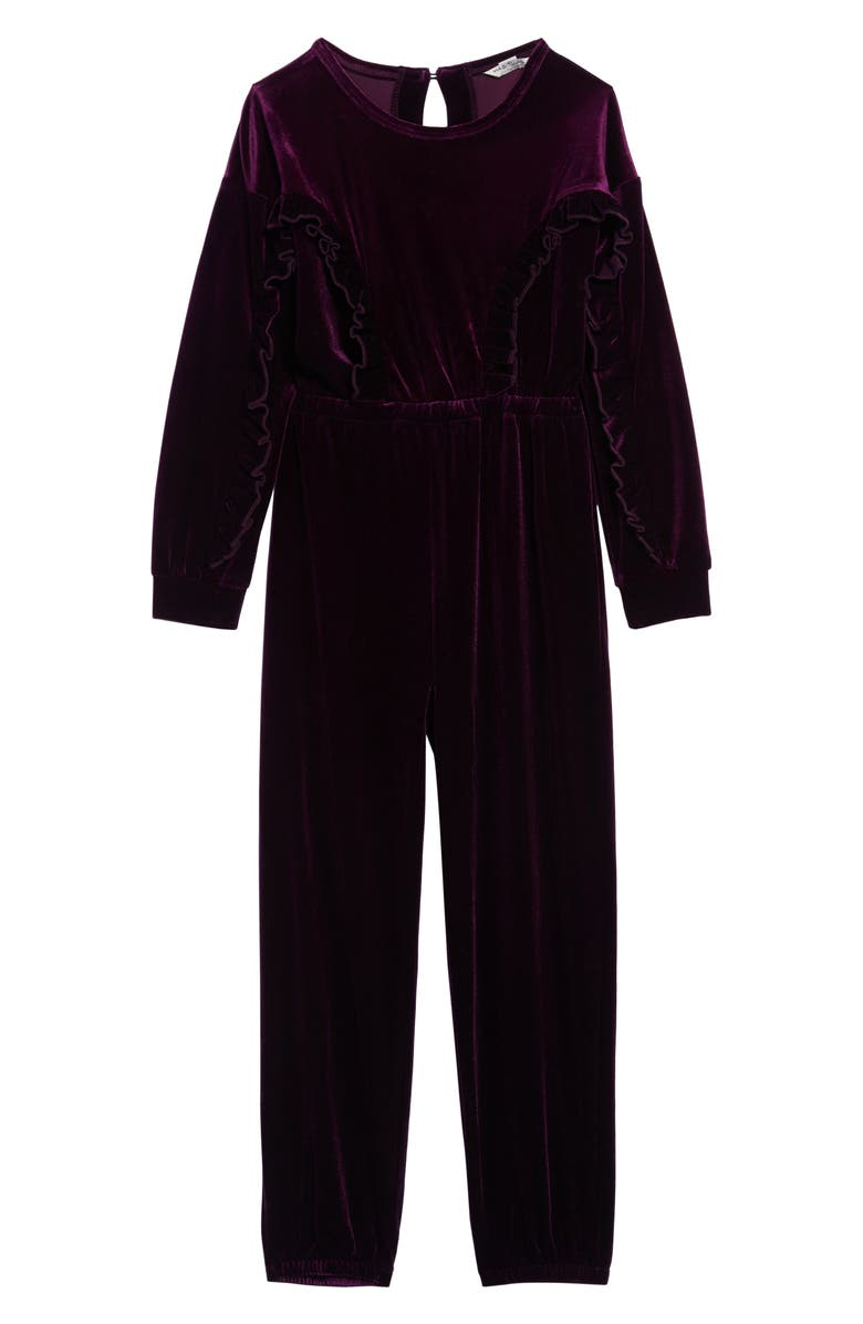 HABITUAL Carina Velvet Ruffle Jumpsuit, Main, color, PURPLE