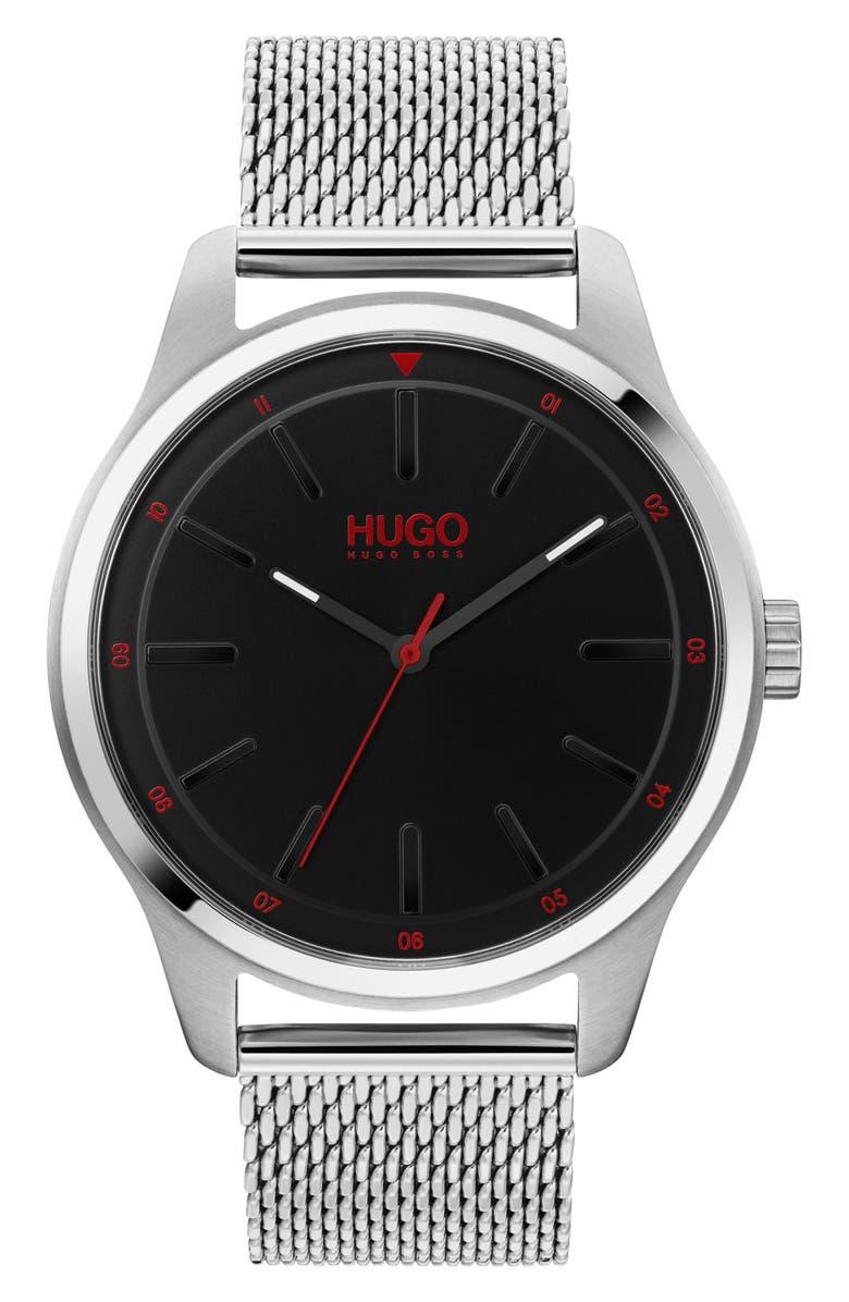 BOSS Dare Mesh Strap Watch, 42mm, Main, color, SILVER/ BLACK/ SILVER