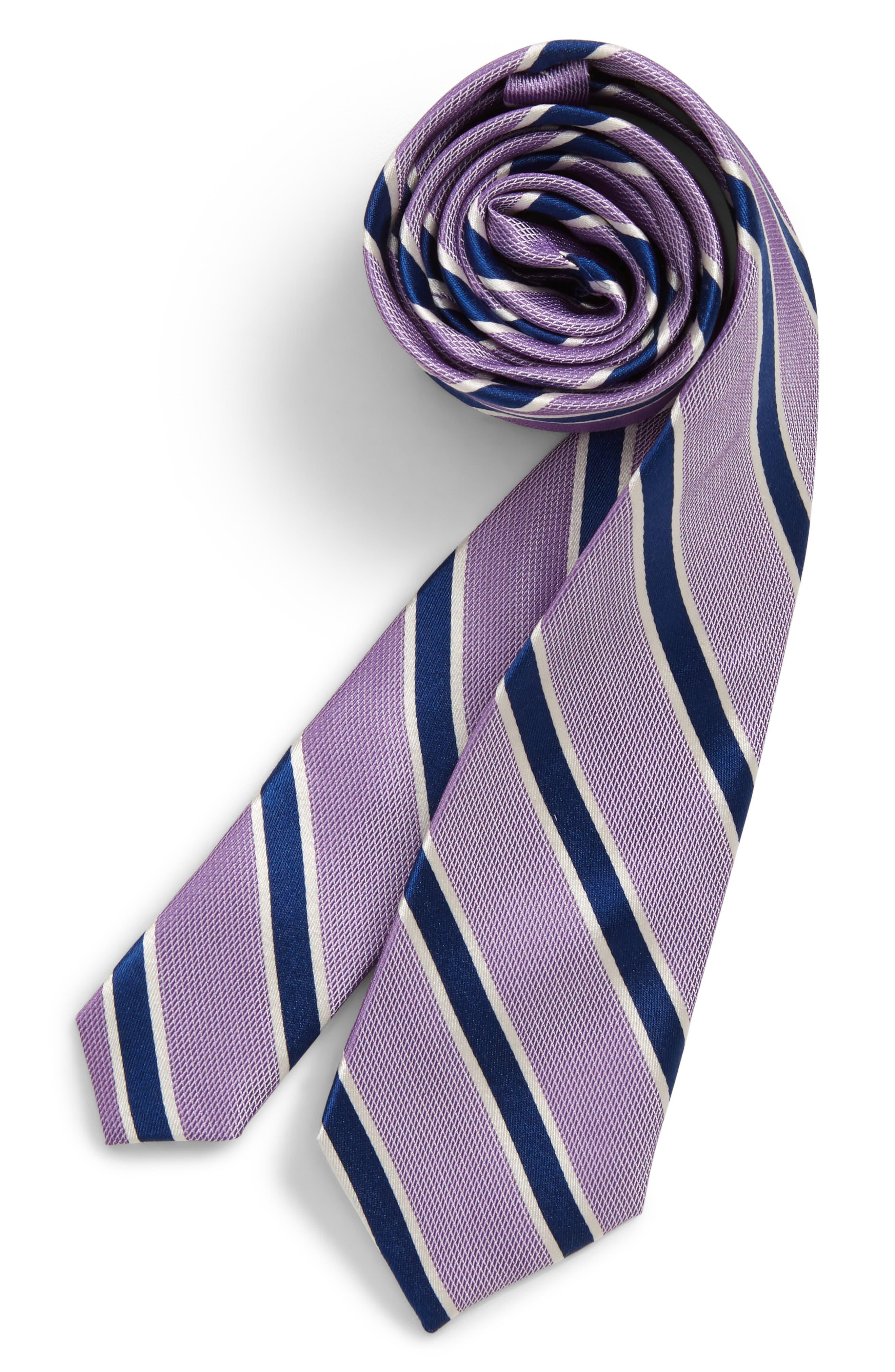 Boys Michael Kors White Warp Stripe Silk Tie Size One Size  Purple