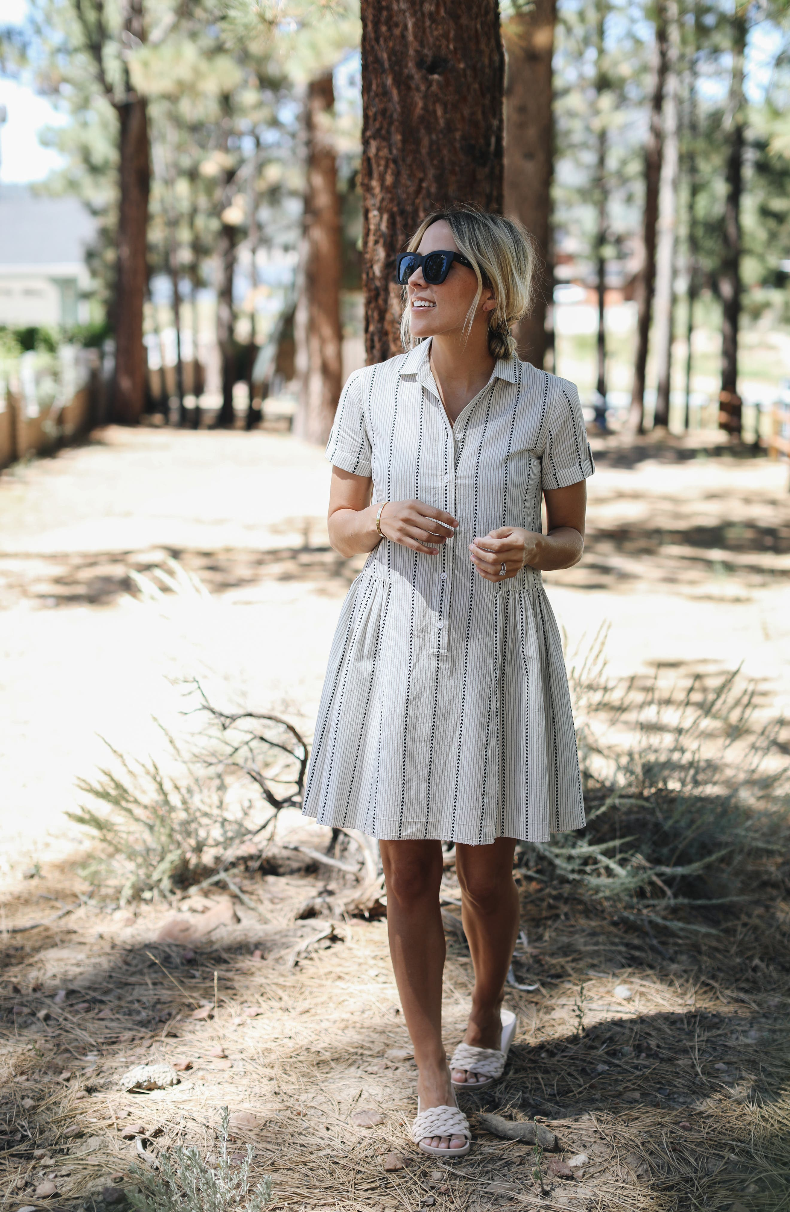 ,                             Damsel x THE ODELLS Easy Button-Up Cotton Dress,                             Alternate thumbnail 12, color,                             250