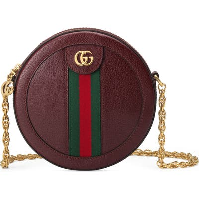 Gucci Mini Ophidia Round Leather Bag - Burgundy