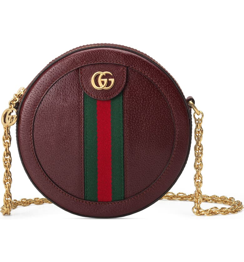 GUCCI Mini Ophidia Round Leather Bag, Main, color, 930
