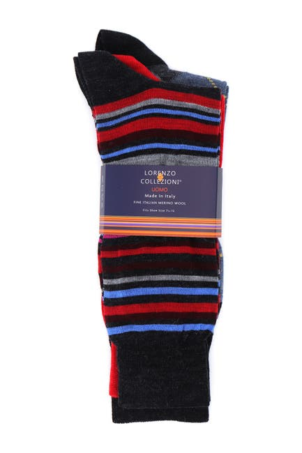 Image of Lorenzo Uomo Lorenzo Wool Pattern Socks - Pack of 3
