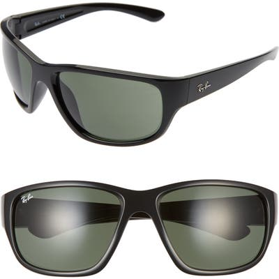 Ray-Ban 6m Oversize Square Sunglasses - Black/ Green Solid
