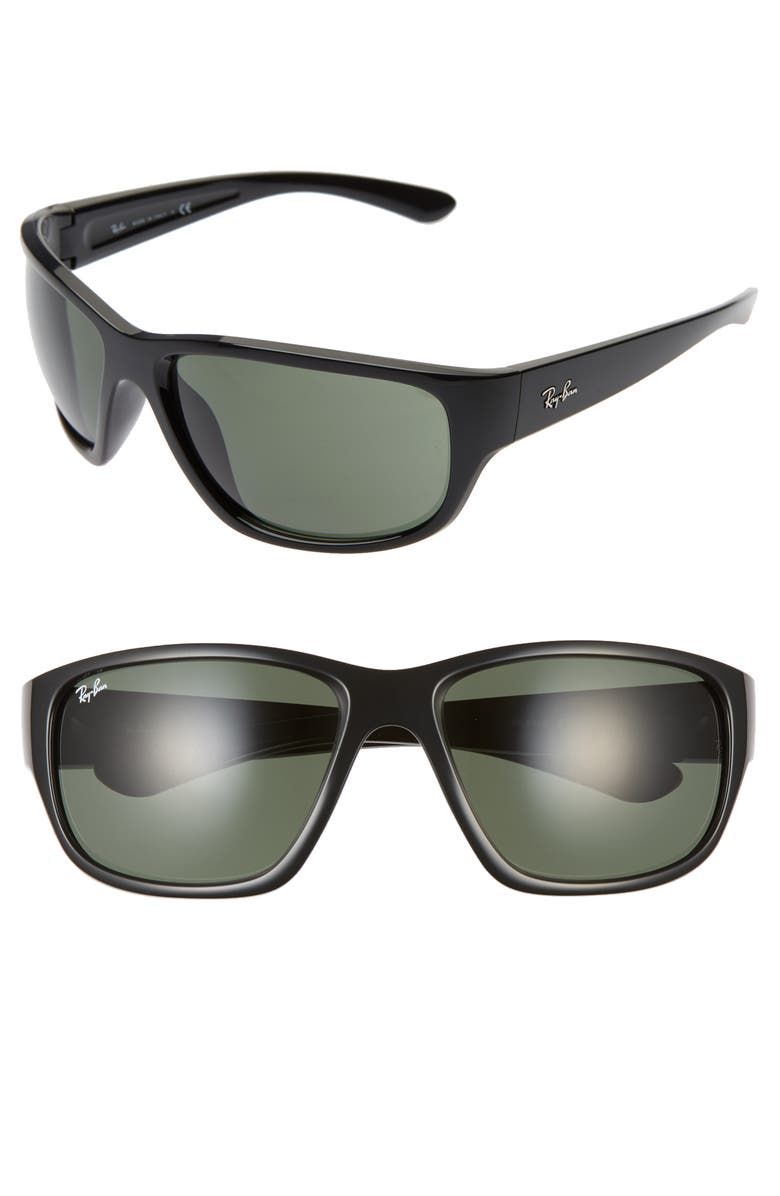 RAY-BAN 63mm Oversize Square Sunglasses, Main, color, 001