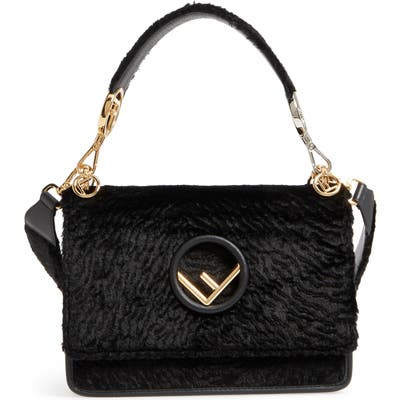 Fendi Kan I Logo Velvet Shoulder Bag - Black