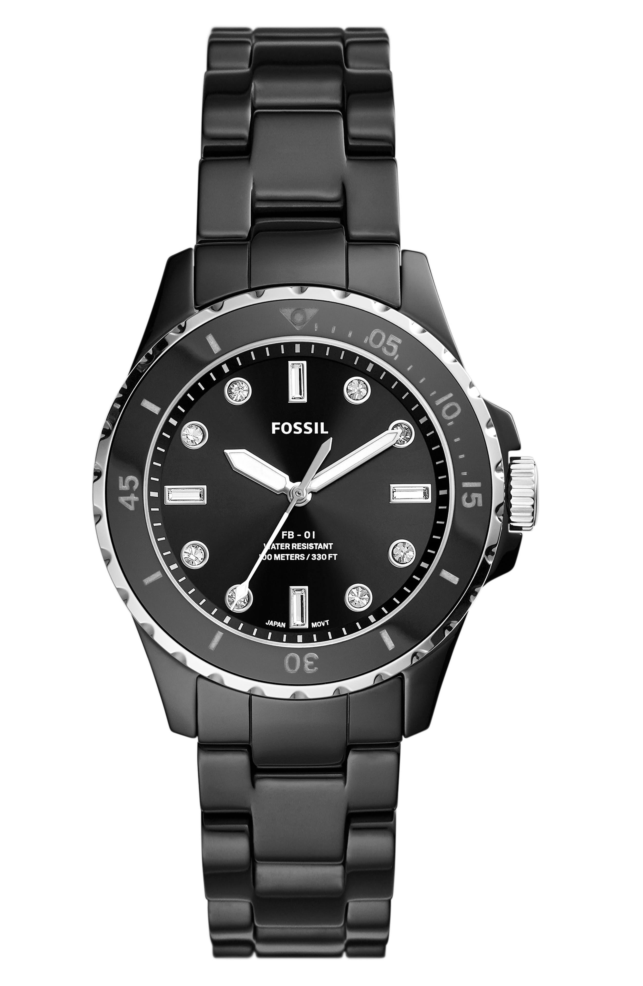 Fb-01 Crystal Ceramic Bracelet Watch