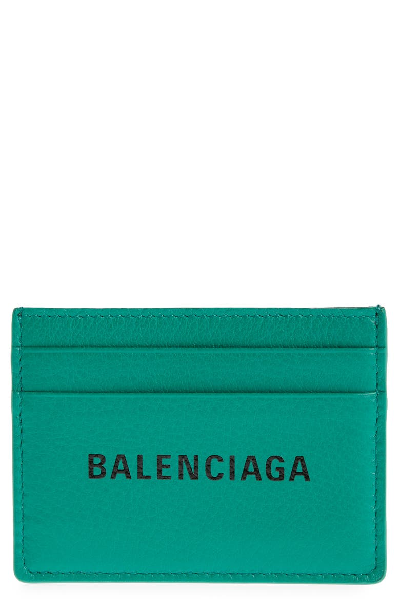 BALENCIAGA Everyday Logo Leather Card Case, Main, color, MAGIC GREEN/BLACK