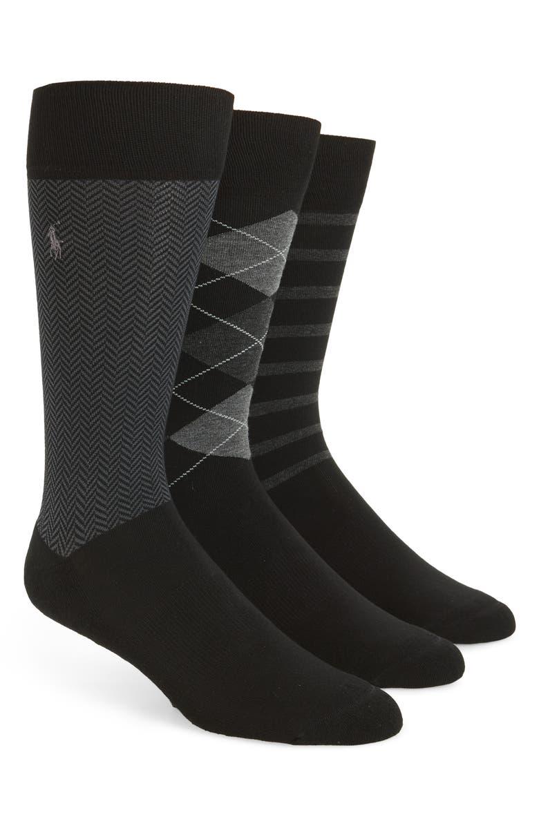POLO RALPH LAUREN 3-Pack Patterned Socks, Main, color, 001