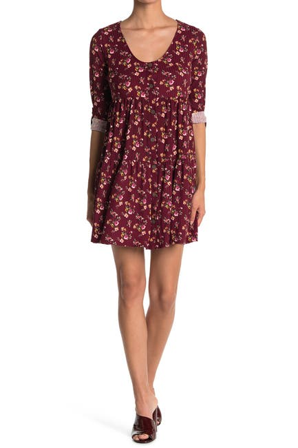 Image of KENEDIK Floral Tiered Ruffle Rib Knit Dress