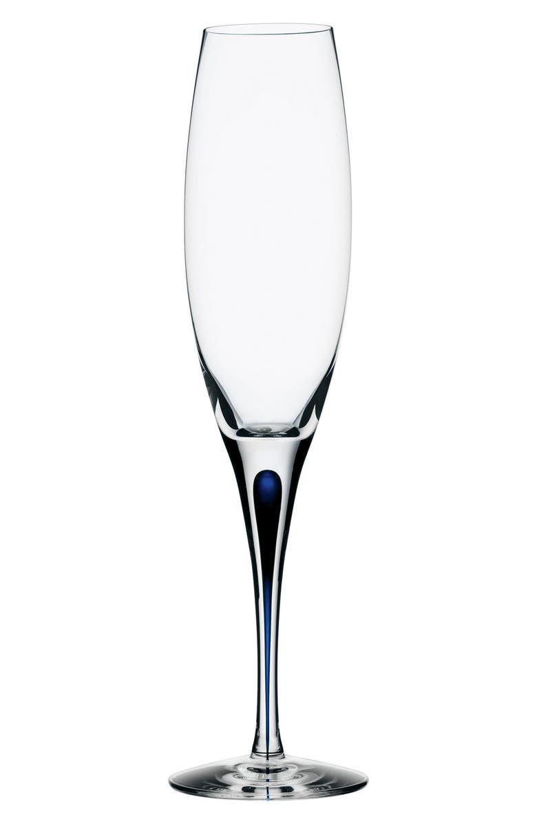 ORREFORS Intermezzo Champagne Flute, Main, color, CLEAR/ BLUE