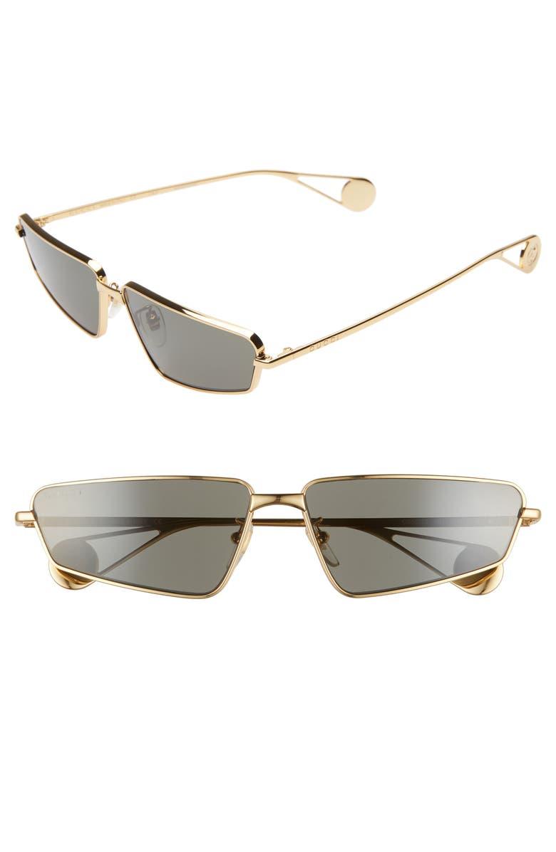 GUCCI 63mm Rectangular Sunglasses, Main, color, SHINY ENDURA GOLD
