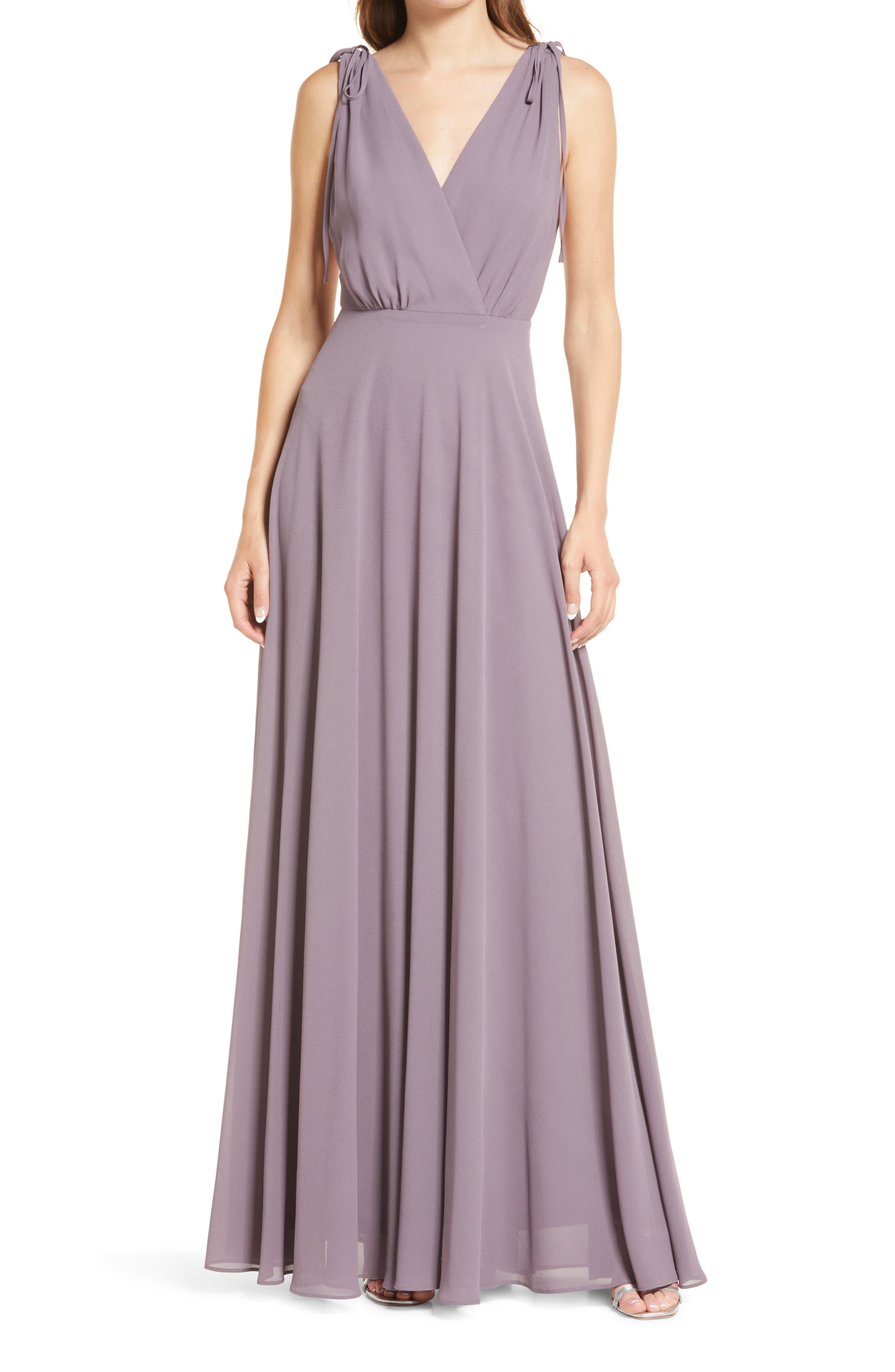 1940s Style Wedding Dresses | Classic Wedding Dresses Womens Lulus V-Neck Chiffon Gown Size Small - Purple $88.00 AT vintagedancer.com