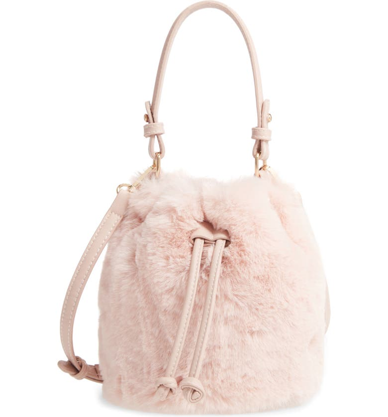 BP. Furry Faux Fur Crossbody Bag, Main, color, PINK BLUSH